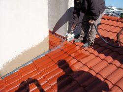 roof leak, tile roof leak, roof leak at sidewall